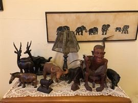 Hand carved animals From her travels