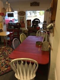 Large Vintage Table. Painted Chairs