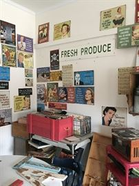 Records, Signs, Vintage Tables