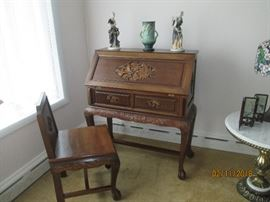 Heavily Carved Chinese Slant Front Desk with Matching Chair