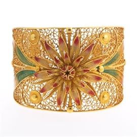 Italian Gold and PliqueaJour Enamel Oversized Filigree Cuff Bangle