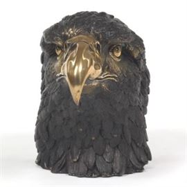 Large Patinated Brass Eagle Head