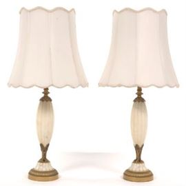 Pair of Alabaster and Gilt Metal Lamps, ca. Early 20th Century