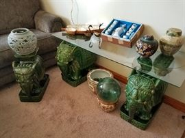 Glazed elephant table and plant stand