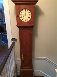 Early Antique Pine Grandfather Clock