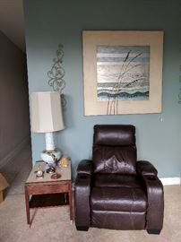 Recliner & MCM end table & lamp