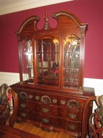 Block front China cabinet with lighted hutch