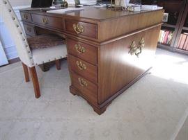 Kittinger partner's desk.  The top rests on 2 pillars of drawers for easy moving