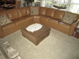 Palliser leather sectional sofa-8' X 8' aniline dyed leather throughout.