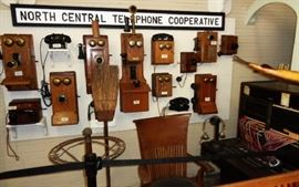 Large collection of antique and vintage telephones