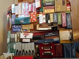 All knives present and never used or carried,  only boxes displayed for your viewing on this site.