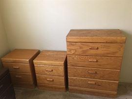Golden Oak Tall Dresser & 2 matching nightstands