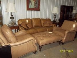 Vanguard leather sofa, side chairs, ottoman, drop-leaf single drawer side end tables, lamps, artwork