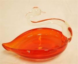 Beautiful Orange Glass Swan Dish - so pretty!