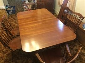 Dining table with extra leaf and six Windsor-style spindle chairs  Asking $250 for table $20 each for chairs