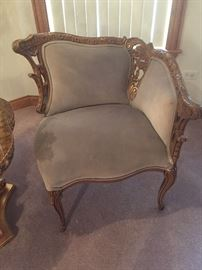 Handcarved French chairs sold as a set