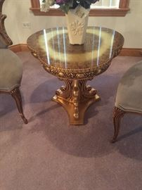 French table handcarved gold leaf