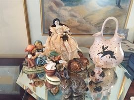 Rabbit collectables and German China Doll head