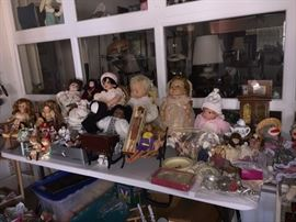 Dolls and doll tea sets....loads of other stuffed animals and kids games not shown.