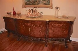 Matching inlaid Buffet with marble top and quality detailed inside drawers and shelving with Decorative Items