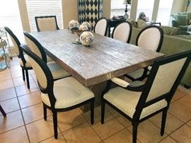 """STUNNING / VERY UNIQUE """"Silver"""" MCM Dining room table with 8 chairs"""