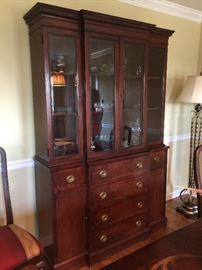 "3. Glass Front Mahogany China Cabinet w/ Inlay,             6 Drawers, 2 Doors (52"" x 16"" x 80"")"