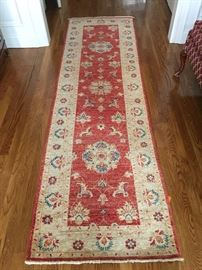 "35. Handmade Wool Runner From Istanbul in Terracotta/Cream (30"" x 8""4"")"