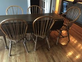 "50. Habersham Drop Leaf Pine Table (6' x 24"" x 30"") Extends to 6' x 43"" x 30"" with 2-11"" Drop Leaves 51. Hale Co. of Vermont Windsor Dining Chairs, 2 Arm & 4 Side Chairs"