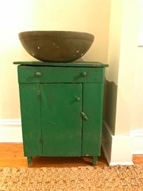 Americana folk cabinet in wonderful green color, large rustic wooden bowl.