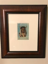 Reverse glass portrait of a Native American Chief