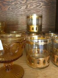 Vintage Gold Trim Glassware