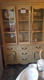 French Provincial Glass Front China Cabinet