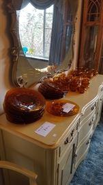 Mid Century Amber Glassware