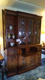 Dark Wood Glass Front China Hutch with Drop Leaf Writing Desk