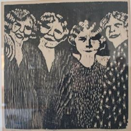 Four Women by Jan Heath 8 of 15 Limited Edition Wood Block