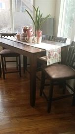 Tall Table with 6 Chairs (2 Leaves)
