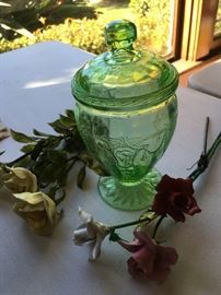 "RARE GREEN ""CAMEO"" CANDY JAR"