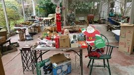 Huge covered patio area with vintage Christmas, garden, tools, cookware and more!