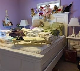 Queen Bed Frame with Matching Nightstands, Like-new Queen Mattresses, Linens, Home Accessories, Plush Friends
