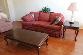 Sofa, coffee table, end table, lamp