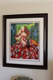 Framed and matted lithograph, signed