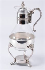 Lot 1: Silverplate Glass Carafe w/Warming Stand