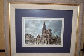 Strasburg Cathedral, and Street Corner Water Color Prints