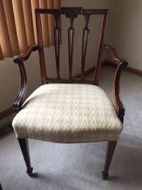 Circa 1800 Sheraton Mahogany Armchair, authenticated & guaranteed this armchair to be absolutely & unmistakably genuine. Puchased from Israel Sark Inc New York Nov 1, 1977 for $4,800.The mate to this chair from the collection of R.T. Haines Halsey is illustrated plate #188, Hudson-Fulton Exhibition Catalogue 1909 Metropolitan Museum of Art.