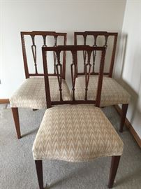 Set of 3 Circa 1800 Sheraton Mahogany Side Chairs each with 3 pierced & carved vertical splats under a lightly carved stepped crest.  The seats are serpentine & the legs gracefully tapered.