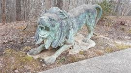 Bronze Pair of Life Size Lions