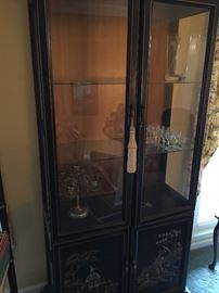 "China cabinet - locks both top and bottom. Measures about: 33"" wide, 14 1/2"" deep, 78"" high"