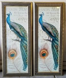 2 Framed Peacock Framed Art (I'm unsure of the measurements)