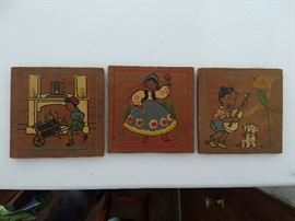 Sweet group of antique hand-painted plaques. $5 each
