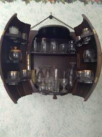 Inside of 1/2 barrel liquor cabinet. Liquor not included!